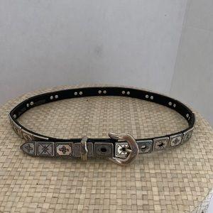 Women's Brighton belt .Silver/black. Size Small